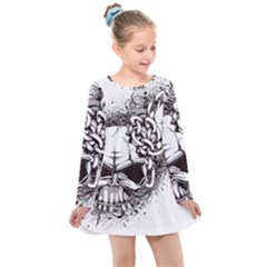 Skull And Crossbones Kids  Long Sleeve Dress by Alisyart