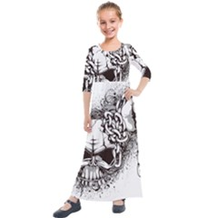 Skull And Crossbones Kids  Quarter Sleeve Maxi Dress