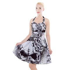 Skull And Crossbones Halter Party Swing Dress