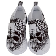 Skull And Crossbones Kids  Velcro No Lace Shoes