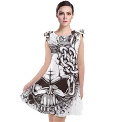 Skull And Crossbones Tie Up Tunic Dress