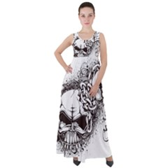 Skull And Crossbones Empire Waist Velour Maxi Dress