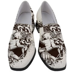 Skull And Crossbones Women s Chunky Heel Loafers