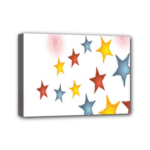 Star Rainbow Mini Canvas 7  X 5  (stretched)
