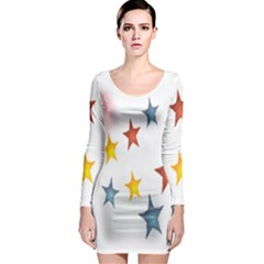 Star Rainbow Long Sleeve Bodycon Dress