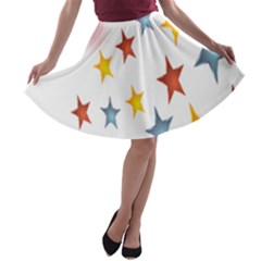 Star Rainbow A Line Skater Skirt