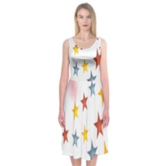 Star Rainbow Midi Sleeveless Dress