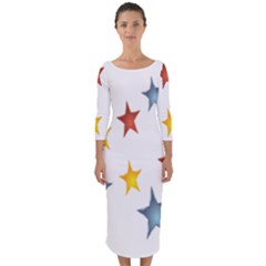 Star Rainbow Quarter Sleeve Midi Bodycon Dress