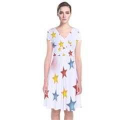 Star Rainbow Short Sleeve Front Wrap Dress