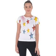 Star Rainbow Short Sleeve Sports Top