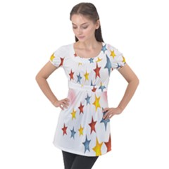 Star Rainbow Puff Sleeve Tunic Top