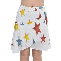 Star Rainbow Chiffon Wrap Front Skirt