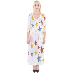 Star Rainbow Quarter Sleeve Wrap Maxi Dress