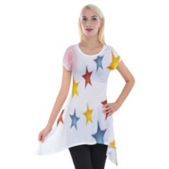 Star Rainbow Short Sleeve Side Drop Tunic