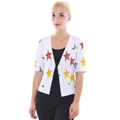 Star Rainbow Cropped Button Cardigan