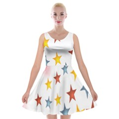 Star Rainbow Velvet Skater Dress