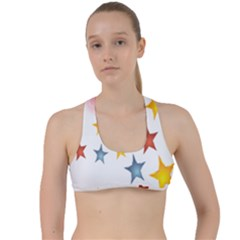 Star Rainbow Criss Cross Racerback Sports Bra