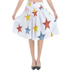 Star Rainbow Flared Midi Skirt