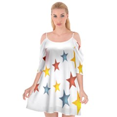 Star Rainbow Cutout Spaghetti Strap Chiffon Dress