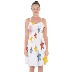 Star Rainbow Ruffle Detail Chiffon Dress