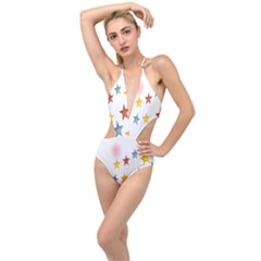 Star Rainbow Plunging Cut Out Swimsuit