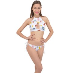 Star Rainbow Cross Front Halter Bikini Set