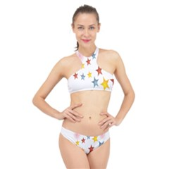 Star Rainbow High Neck Bikini Set
