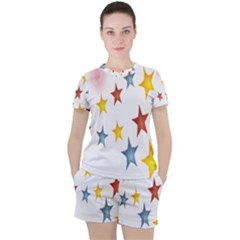 Star Rainbow Women s Tee And Shorts Set
