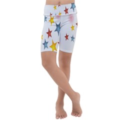 Star Rainbow Kids  Lightweight Velour Cropped Yoga Leggings