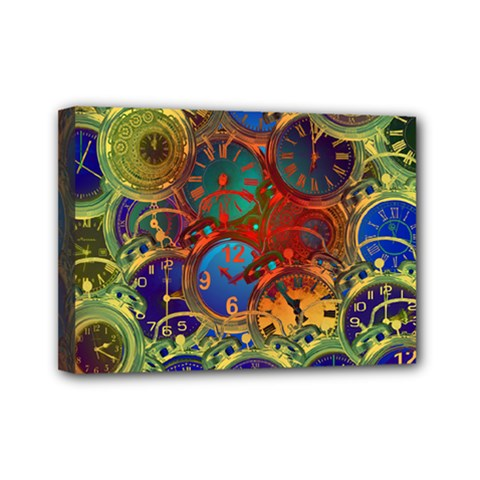 Time Clock Distortion Mini Canvas 7  X 5  (stretched)