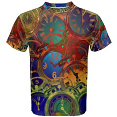 Time Clock Distortion Men s Cotton Tee