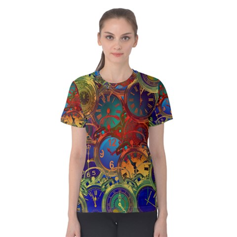 Time Clock Distortion Women s Cotton Tee by Mariart