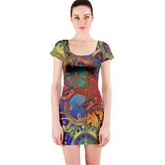 Time Clock Distortion Short Sleeve Bodycon Dress by Mariart