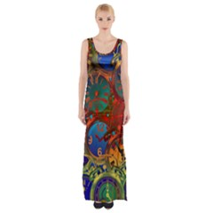 Time Clock Distortion Maxi Thigh Split Dress