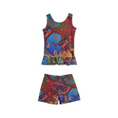 Time Clock Distortion Kids  Boyleg Swimsuit
