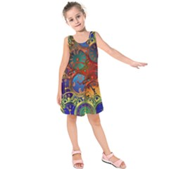 Time Clock Distortion Kids  Sleeveless Dress by Mariart