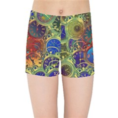 Time Clock Distortion Kids  Sports Shorts by Mariart