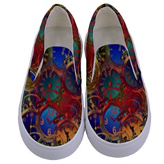 Time Clock Distortion Kids  Canvas Slip Ons