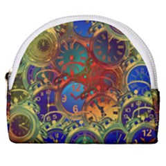 Time Clock Distortion Horseshoe Style Canvas Pouch