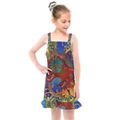 Time Clock Distortion Kids  Overall Dress