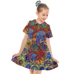 Time Clock Distortion Kids  Short Sleeve Shirt Dress