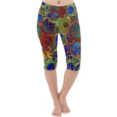 Time Clock Distortion Lightweight Velour Cropped Yoga Leggings