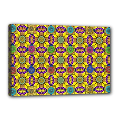 Tile Background Geometric Canvas 18  X 12  (stretched)