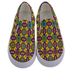 Tile Background Geometric Kids  Canvas Slip Ons
