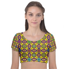 Tile Background Geometric Velvet Short Sleeve Crop Top