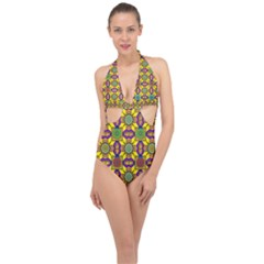 Tile Background Geometric Halter Front Plunge Swimsuit