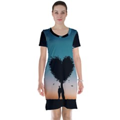 Tree Heart At Sunset Short Sleeve Nightdress