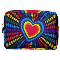 Rainbow Pop Heart Make Up Pouch (medium) by WensdaiAmbrose