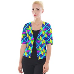 Pattern Star Abstract Background Cropped Button Cardigan