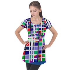 Color Graffiti Pattern Geometric Puff Sleeve Tunic Top